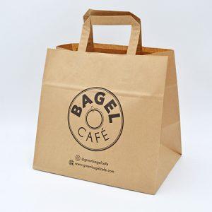 Sac kraft poignées plates Bagel Café
