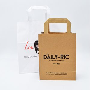 Deux exemples de sac kraft poignées plates Daily-Ric et Lou Mix Art